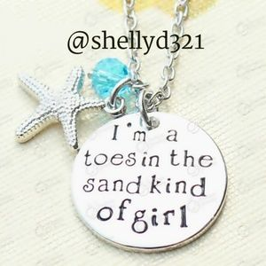 I'm a toes in the sand kind of girl  Necklace NEW